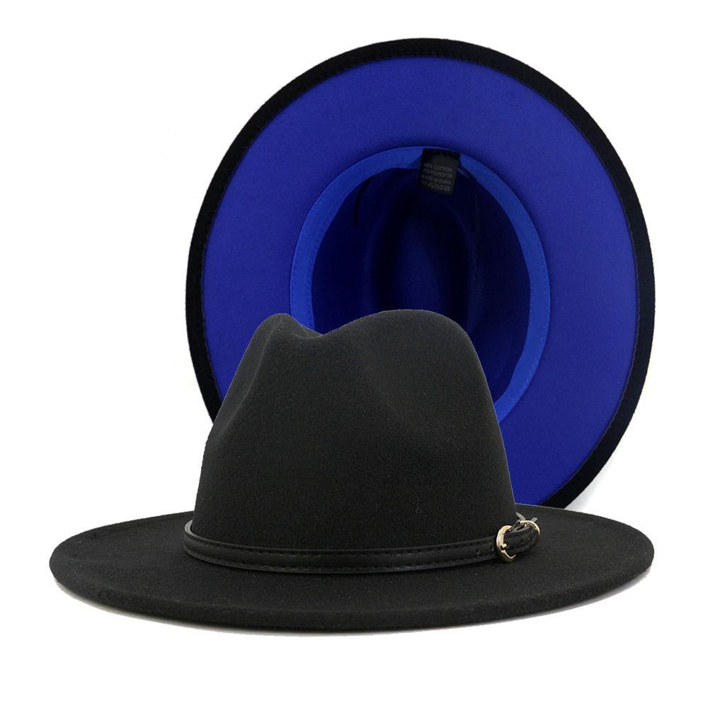 Lã 2.020 Mulheres Moda Homens Patchwork Artificial Felt Fedora chapéus com Cap Panama Jazz Brim Belt Buckle Double-Sided Color Plano