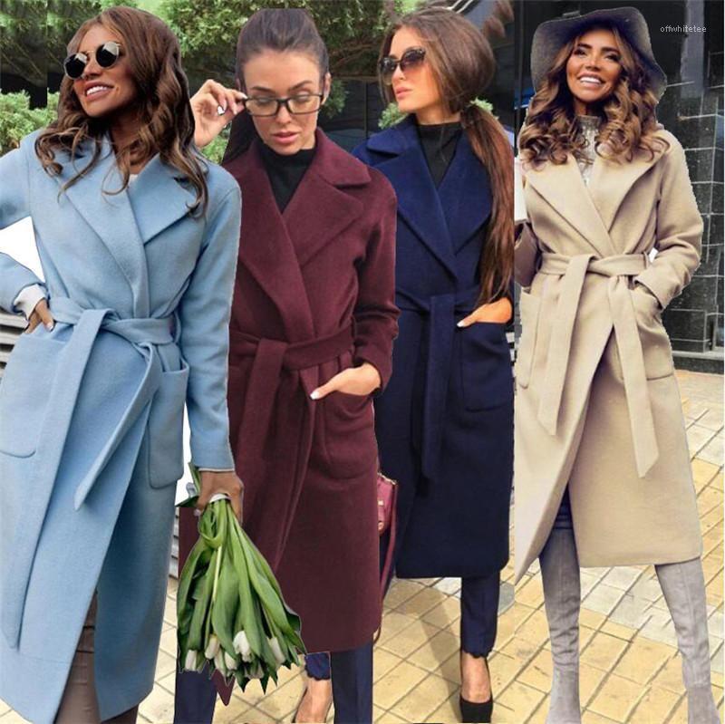 Осень и зима плюс размер сплошной цвет с длинными рукавами отворотом шеи длинные пальто Женские дизайнерские тренчкот тренчкот женщины