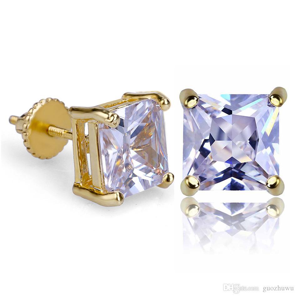 18K Real Gold Hip Hop Single Cubic Zirconia Square Stud Earrings 0.4 0.7 0.9cm for Men Women Diamond Earring Studs Punk Rock Rapper Jewelry