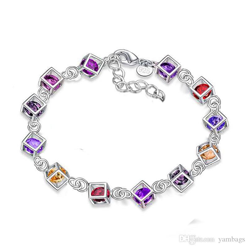 Braccialetto di diamanti con diamanti per le donne Braccialetto in argento sterling 925 placcato in argento 925 con braccialetti con aragosta