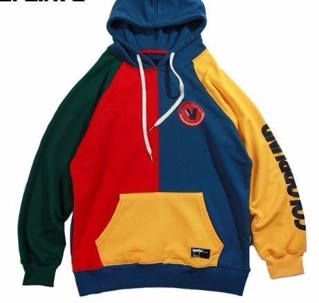 Acheter Hip Hop Sweat Mens Color Block Patchwork Harajuku À Capuche Streetwear Casual HipHop Pull Surdimensionné Automne 2019 Nouveau De $34.03 Du