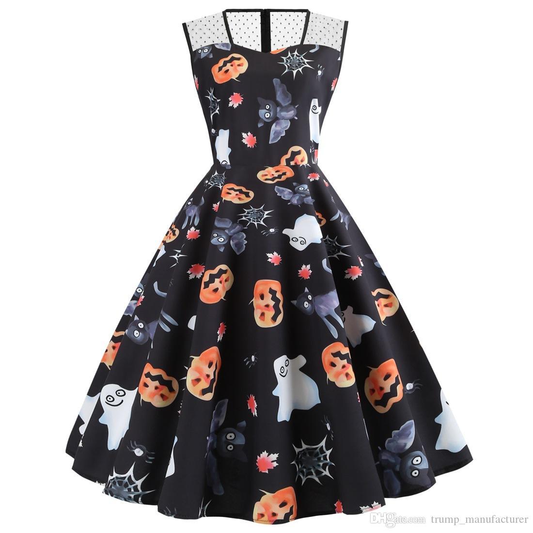 Halloween Frauen Art und Weise kleidet Kürbis Fledermaus Geist gedruckt Röcke Halloween-Kostüme für Erwachsene 2019 Mode Partykleid