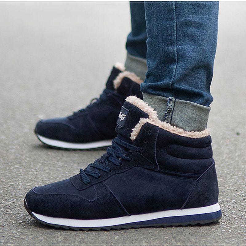 Venda quente-Sapatos Masculinos Homens Adultos Botas Novos Homens Sapatos Botas de Neve Quentes Tênis de Inverno Inverno Plus Size 46 39 S