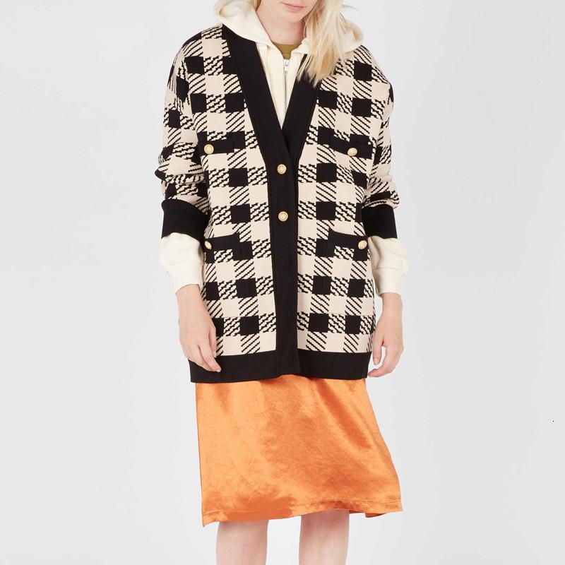 2019 Yeni Kadın hırka Coat V yakalı örgü triko zarif bayanlar gündelik üstleri Sonbahar ve WinterMX191008 ekose