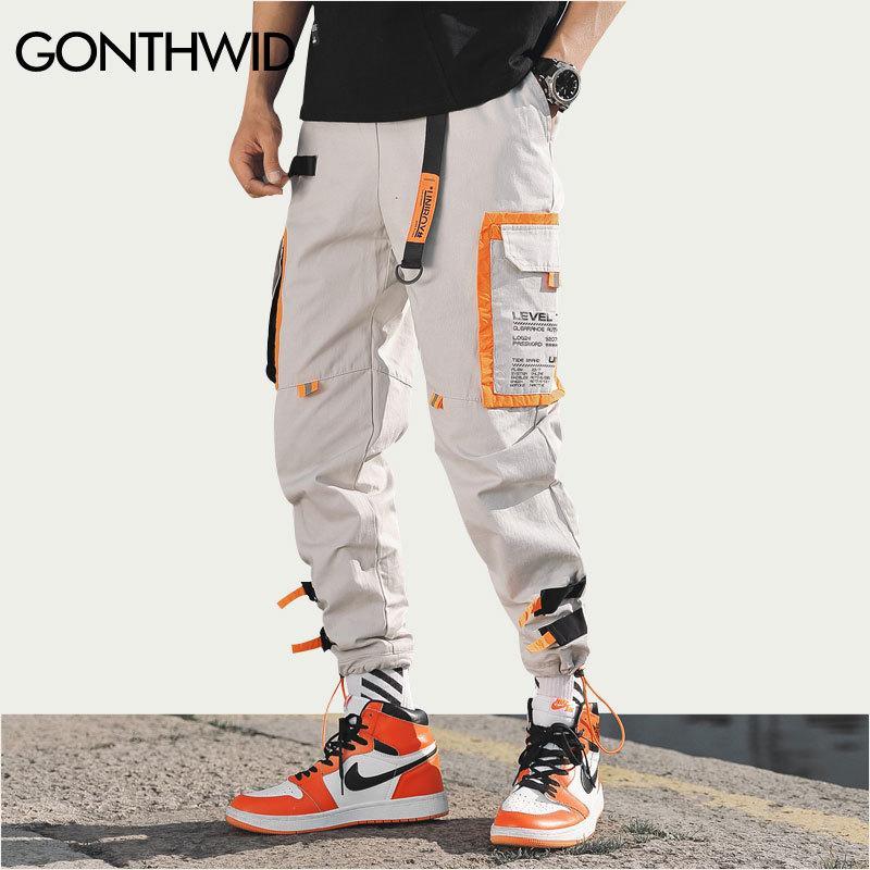 Gonthwid Pantaloni multi tasche Cargo Harem Pantaloni jogger Uomo Pantaloni hip-hop Moda Pantaloni sportivi Streetwear Pantaloni sportivi Harajuku H19073001
