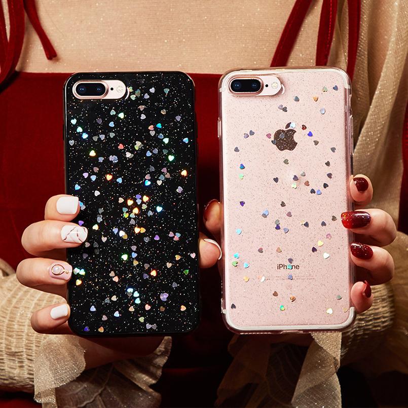 Роскошные блестящие блестящие чехлы для iPhone 7 Чехол Прозрачная задняя крышка для iPhone 8 7 6 6S Plus XS MAX XR Love Силиконовый чехол для телефона