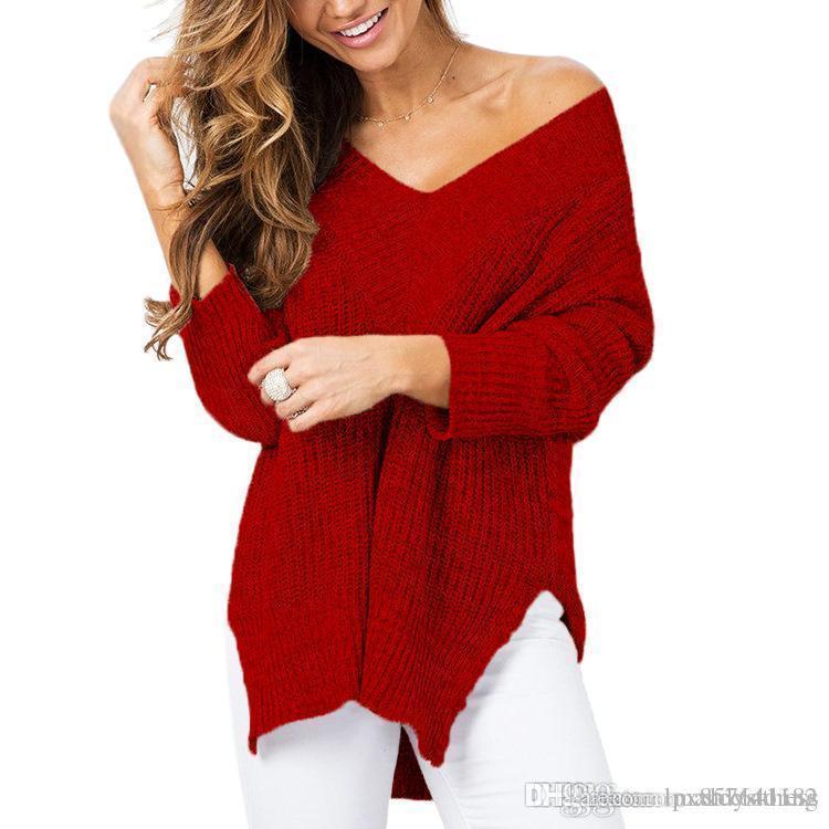 Новый плюс размер осень зима вязание вскользь с длинным рукавом сплошные цвета свитер свободные женские свитеры мода женская одежда FYW001
