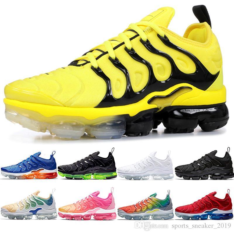Nike Air Vapormax TN Plus Max Artı Erkekler Kadınlar Koşu Ayakkabı Bumblebee Üçlü Siyah Beyaz Günbatımı Iş Mavi Oyun Kraliyet Volt ABD Oreo Tasarımcı Trainer Spor Sneaker