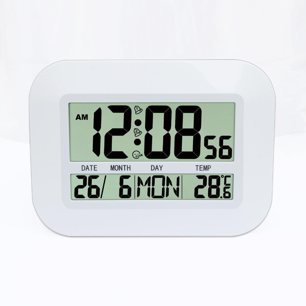 Jimei H149 Simple numérique LCD Horloge murale Horloge de table avec la température Snooze Alarme Calandre Date Heure Weekday pour usage domestique