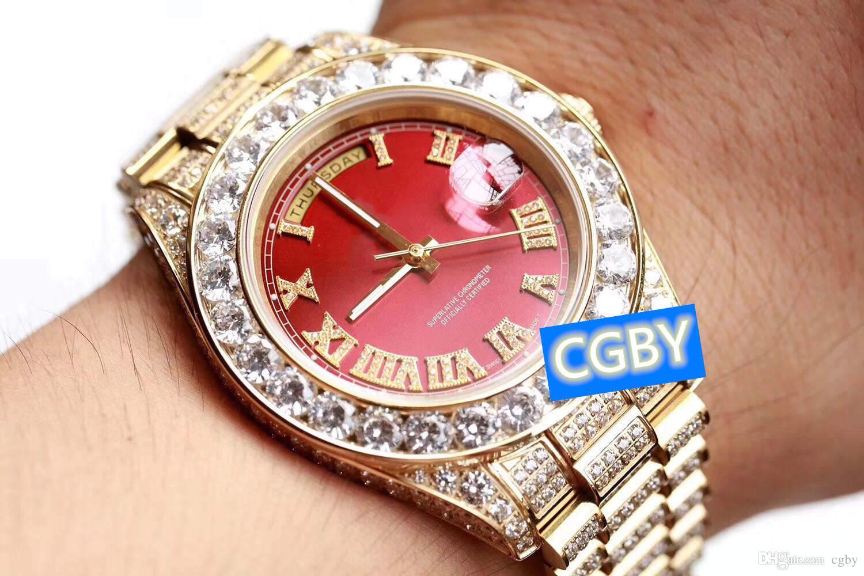 Herrentag Datum Designer Saphirglas Diamant Präzisionsstahluhr 45mm
