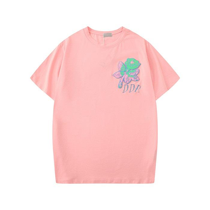 20ss 여름 새로운 여자의 디자이너 T 셔츠 꽃 티셔츠 패션 로즈 자수 짧은 소매 레이디 티 캐주얼 의류는 CLOTHINGS S-2XL 탑