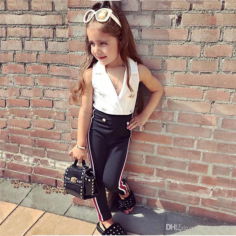 인 여름 아기 소녀 세트 키즈 민소매 더블 브레스트 조끼 탑 + 바지 소녀 2 개 의류 세트 어린이 의상 의류 정장 W327을