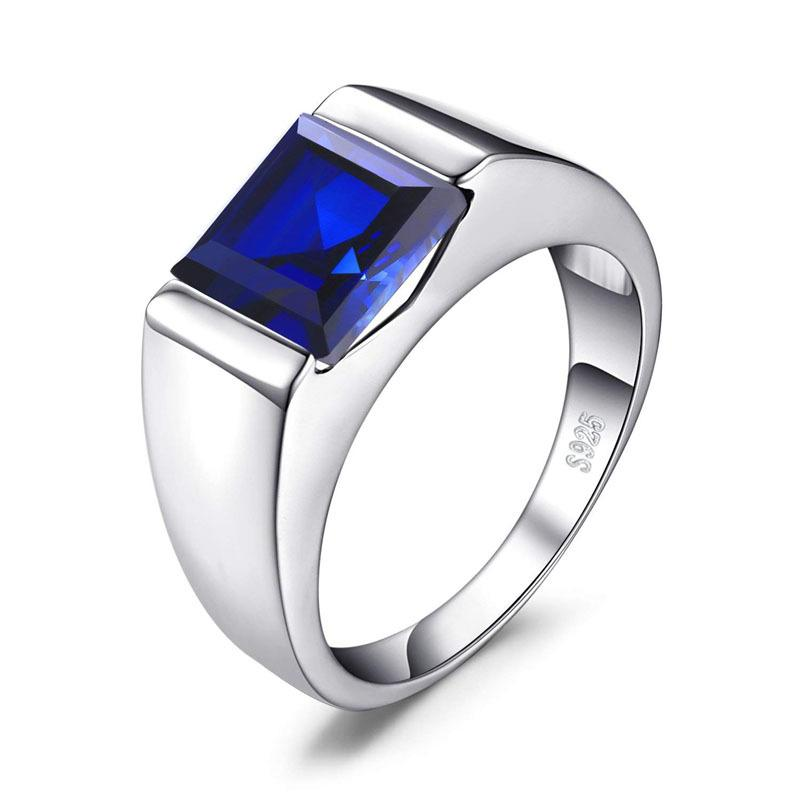 Fashion men's 925 sterling silver sapphire green purple red ruby cz zircon ring with square stone wedding engagement rings jewelry