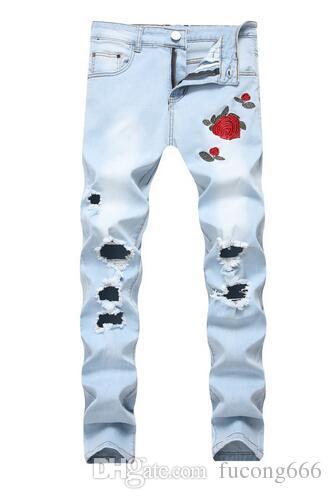 Livraison gratuite nouveau trou jeans broderie fleurs pour hommes rose broderie denim jeans jeans super stretch jeans slim Knight pantalon pour hommes