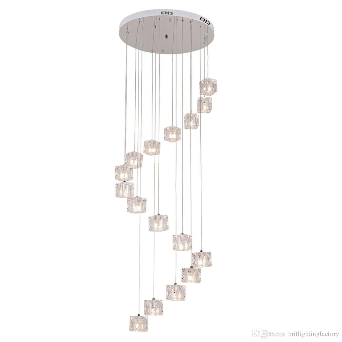 Merdiven uzun Kolye Işıkları LED modern yemek odası otel Hall Mall droplight yaratıcı döner çift merdiven Kolye Işıkları