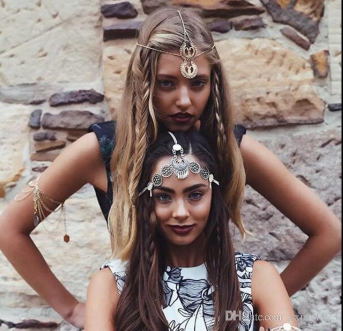 Laço de cabelo Accesorios TOOLS Scrunchie Vintage estilo étnico gravura em metal gota borla headband faixa de cabelo acessórios FZP229