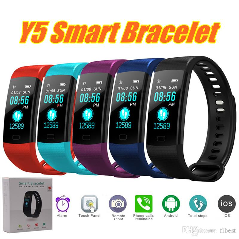 Y5 Smart Bracelet Wristband Heart Rate Monitor Blood Pressure Activity Fitness Tracker Colorful Screen Waterproof Bluetooth Smart Watch