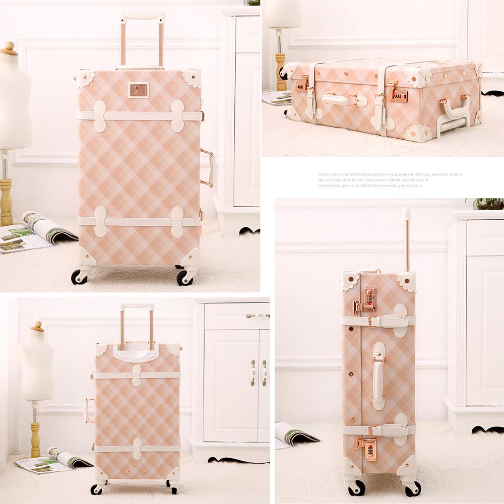 """Designer-20"""" - 26"""" Spinner Wheels Pink Grating Valise Bagages Pu Leather Suitcase Women Trunk Vintage Luggages Rolling Luggage for Girls"""
