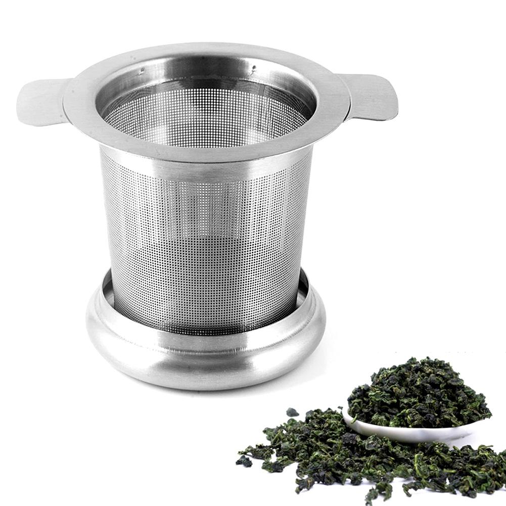 Tea Strainer Lid Teas Infusers Basket Reusable Fine Mesh Tea&Coffee Filters Stainless Steel with Double Handles Leaf Teapot Spice Filter