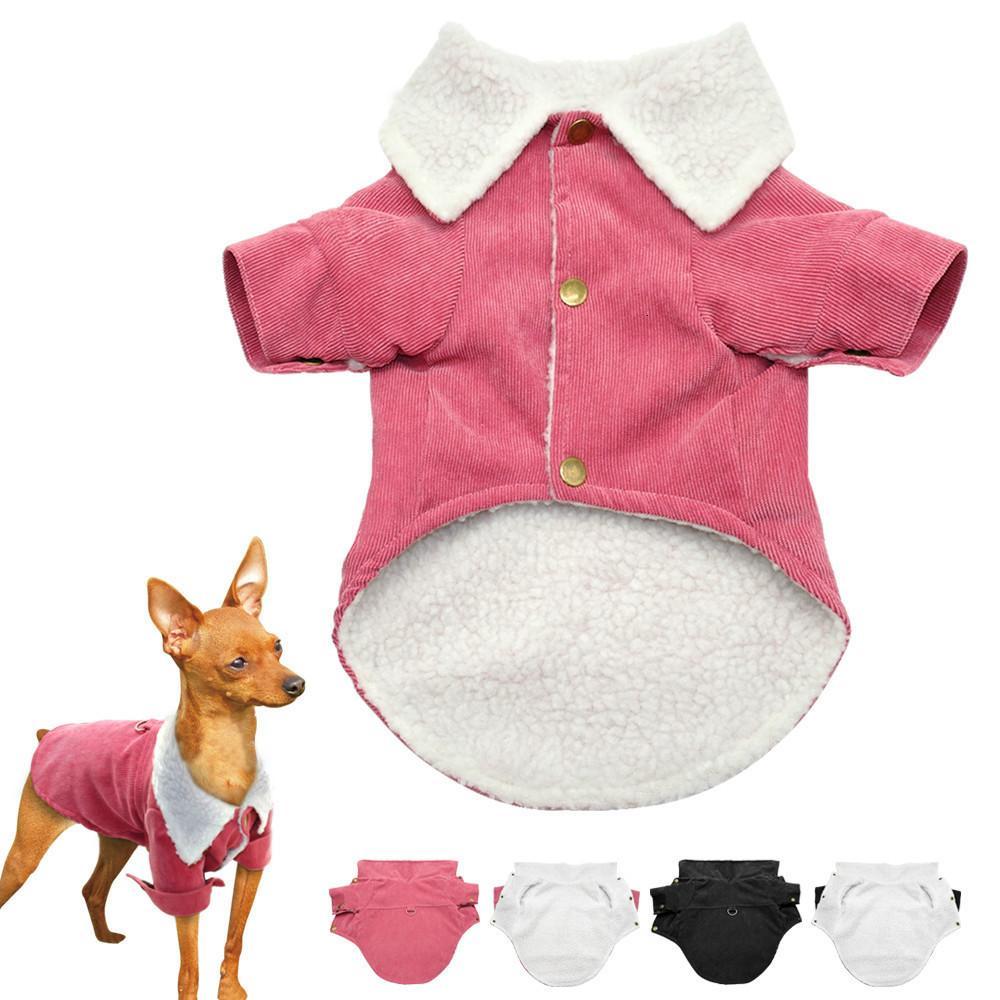 겨울 강아지 옷 따뜻한 두꺼운 개 스웨터 코트면 애완 동물 고양이 의류 소 중 애완 동물 고양이 강아지 의류 핑크 블랙