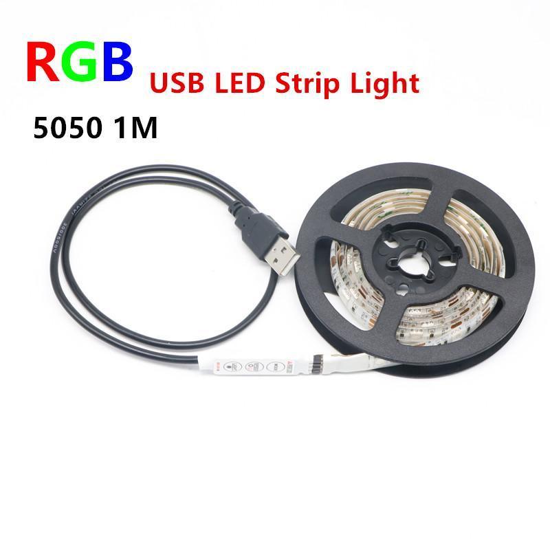 RGB USB Светодиодная лента SMD 5050 LED гибкие полосы света TV фона освещения Kit USB кабель 5V 100см 30LED