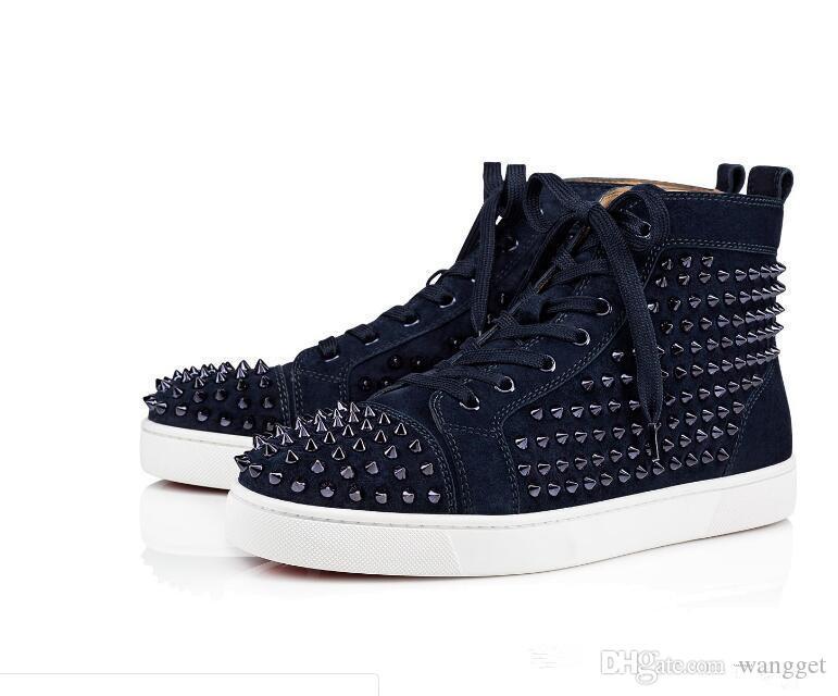 Nova Marca Designer de Alta Top Camurça Genuine Sneaker Flats Sapatos de Fundo Vermelho de Luxo Spikes Sapatos Para Mulheres Dos Homens Designer de Tênis Com Caixa