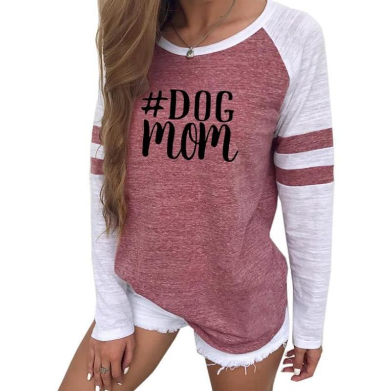 2019 новая мода футболка для женщин с длинным рукавом шить собака мама письма печати женщины футболка Harajuku топы плюс размер Femme