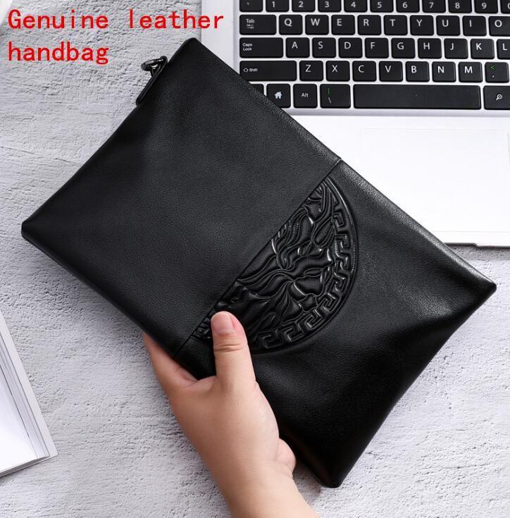Fabrika marka erkekler Çanta Moda Deri Erkekler büyük kapasiteli el Baotou katmanlı dana kabartmalı cüzdan yumuşak deri erkek el çantası