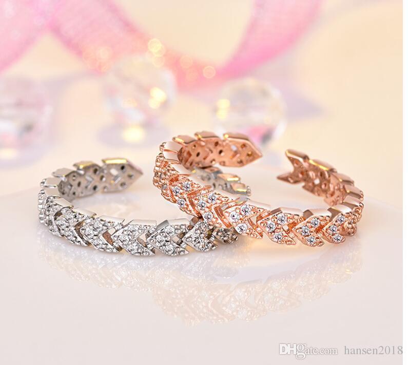 925 or rose amoureux de la couleur bague pour femmes filles taille réglable anneaux de mariage de luxe clair brillant strass bijoux