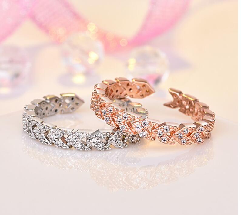 925 Rose gold farbe liebhaber Ring für Frauen Mädchen Größe einstellbar Luxus hochzeit ringe Klar Glänzenden Strass Schmuck