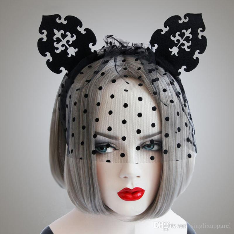 Black Lovely Cat Ears Headband with Veil & Dots Sexy Nightclub Mask Dance Halloween Hair Accessories for Women