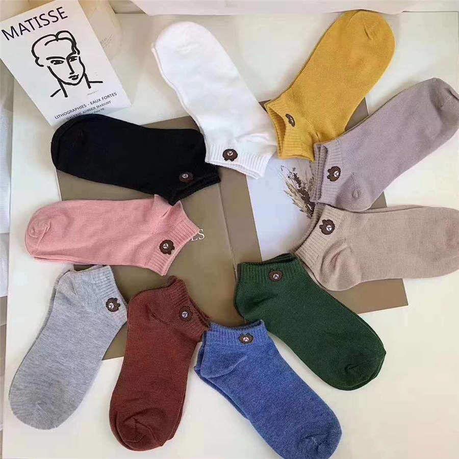 10 color bear socks girls boat sock bear solid color ladies cotton socks spring summer student socks