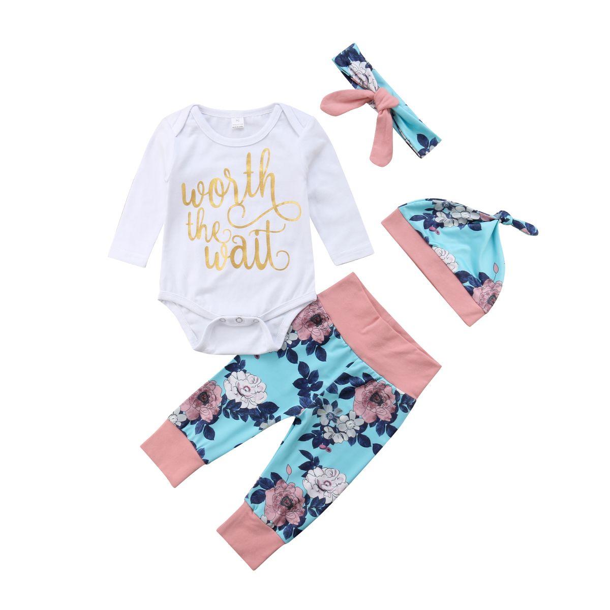 2019 Floral 4PCS Neugeborenes Kind-Baby-Kleidung Overall-Spielanzug-Hosen-Outfit Set