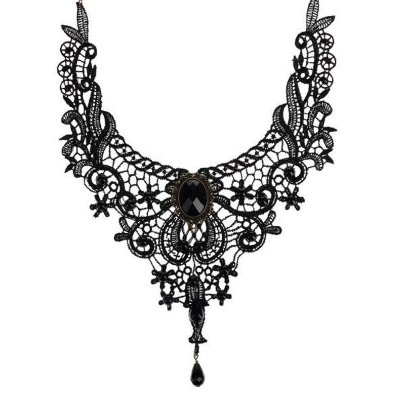 montão Choker colares Moda Goth colares para as mulheres 2019 Colar Beauty Girl feitas à mão jóia do laço do vintage Collar Gothic Choker ...