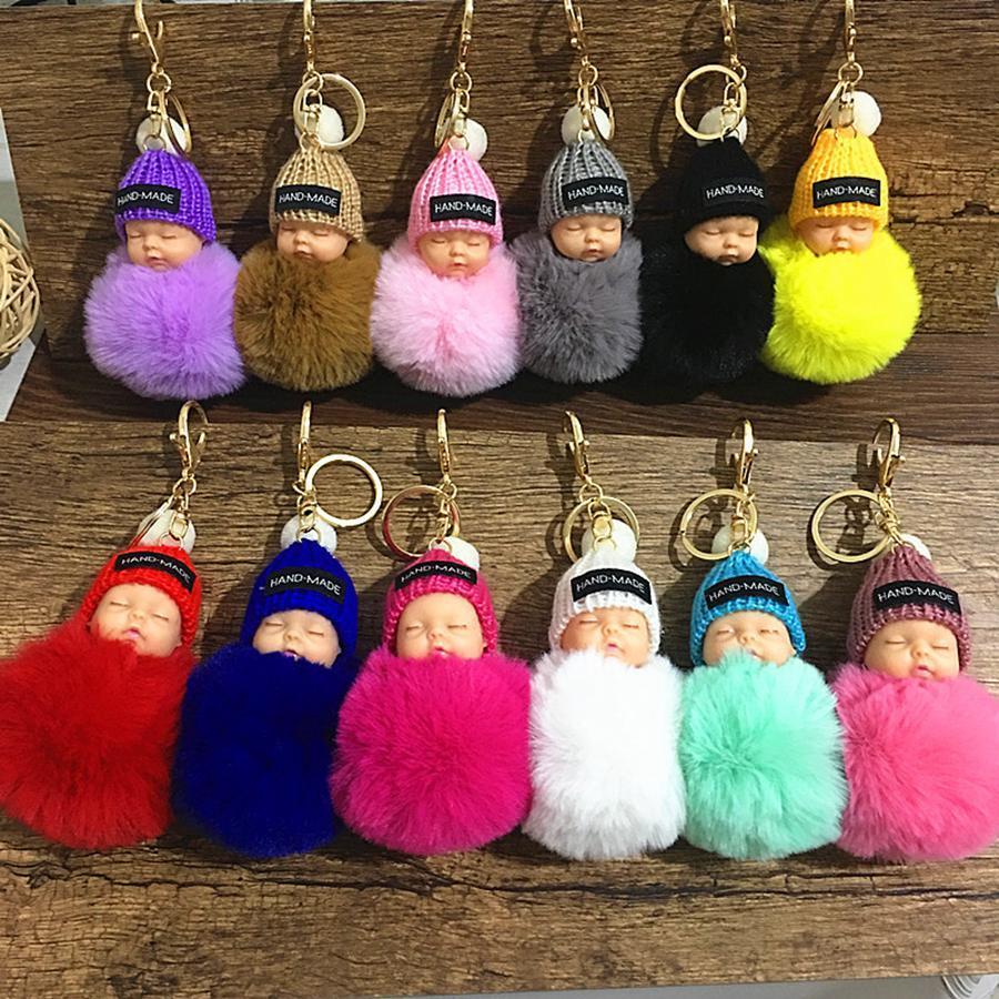 Nettes schlafendes Baby-Puppe Keychain Pompom-Kaninchen-Pelz-Kugel-Karabiner Schlüsselanhänger Schlüsselanhänger Frauen Kinder-Schlüssel-Halter-Beutel-Anhänger Schlüsselanhänger RRA2253