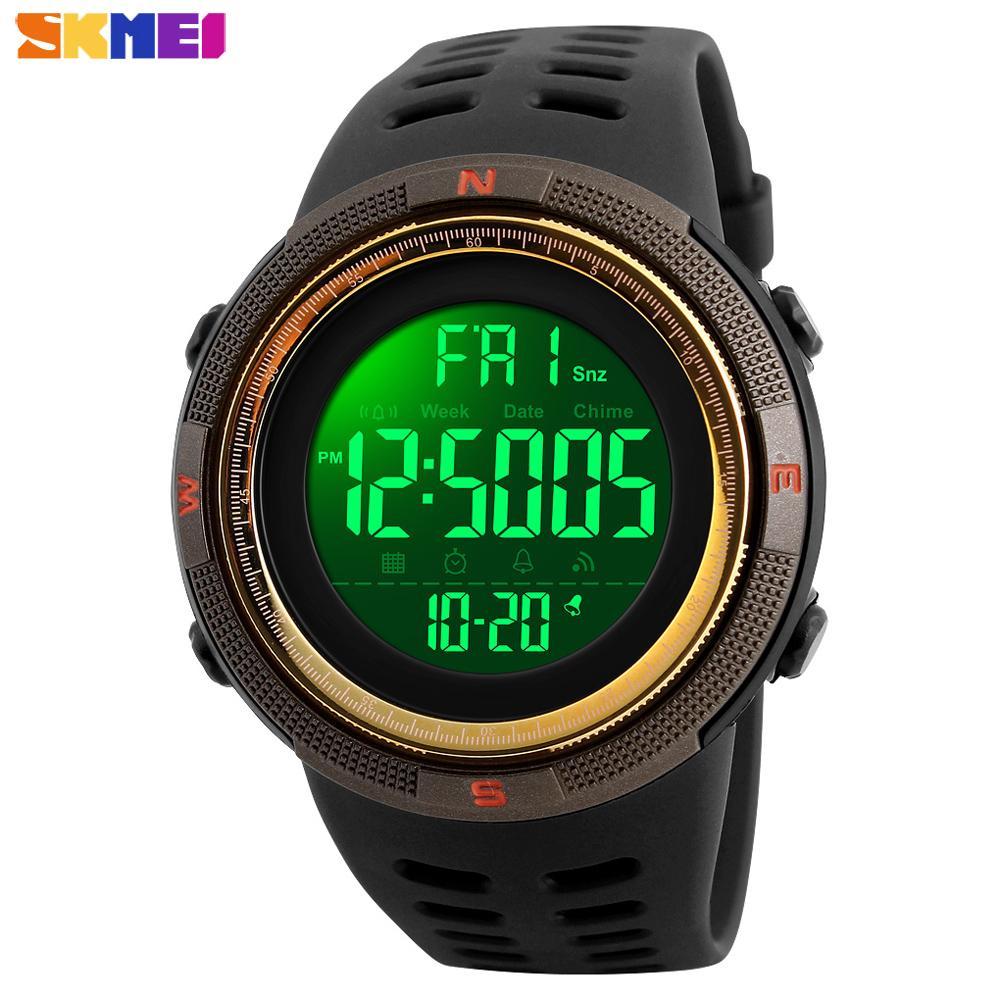 Mode gros Sport Montre Homme Outdoor 5bar numérique étanche Montre Homme Chrono Alarm Clock Hommes Montres de reloj hombre 1251