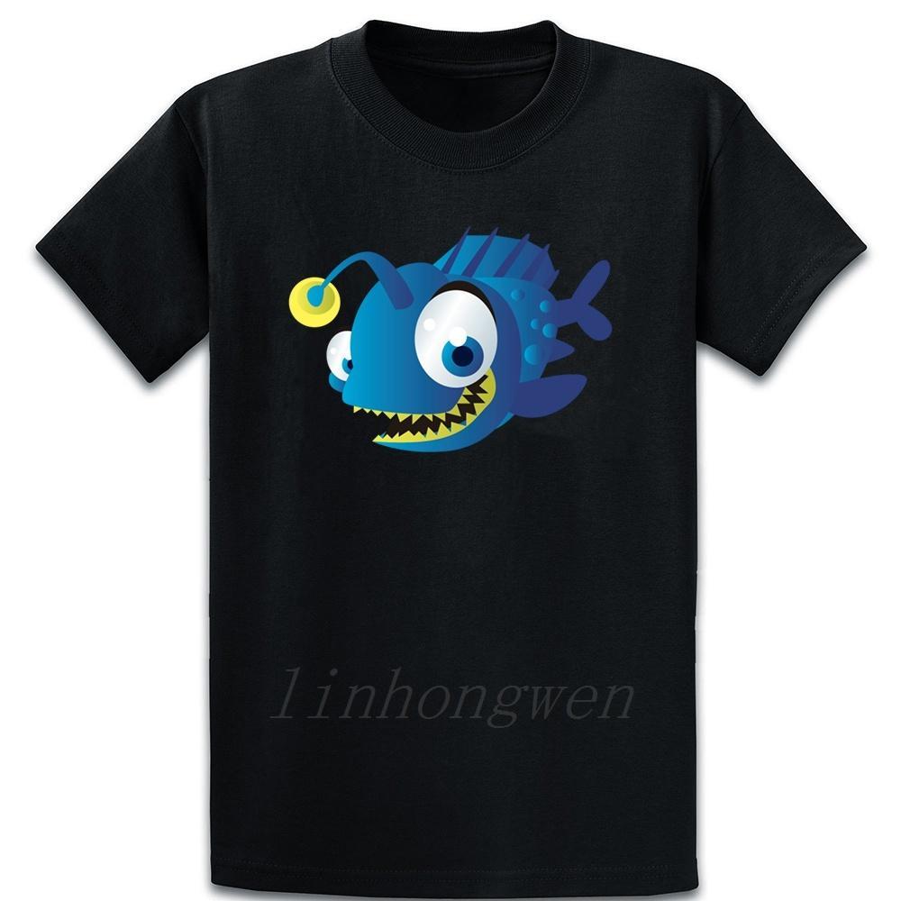 Angler assustador peixes com luz camiseta de caracteres gráficos Primavera Outono Camiseta Vintage Plus Size 5XL Arrefecer New Style Shirt