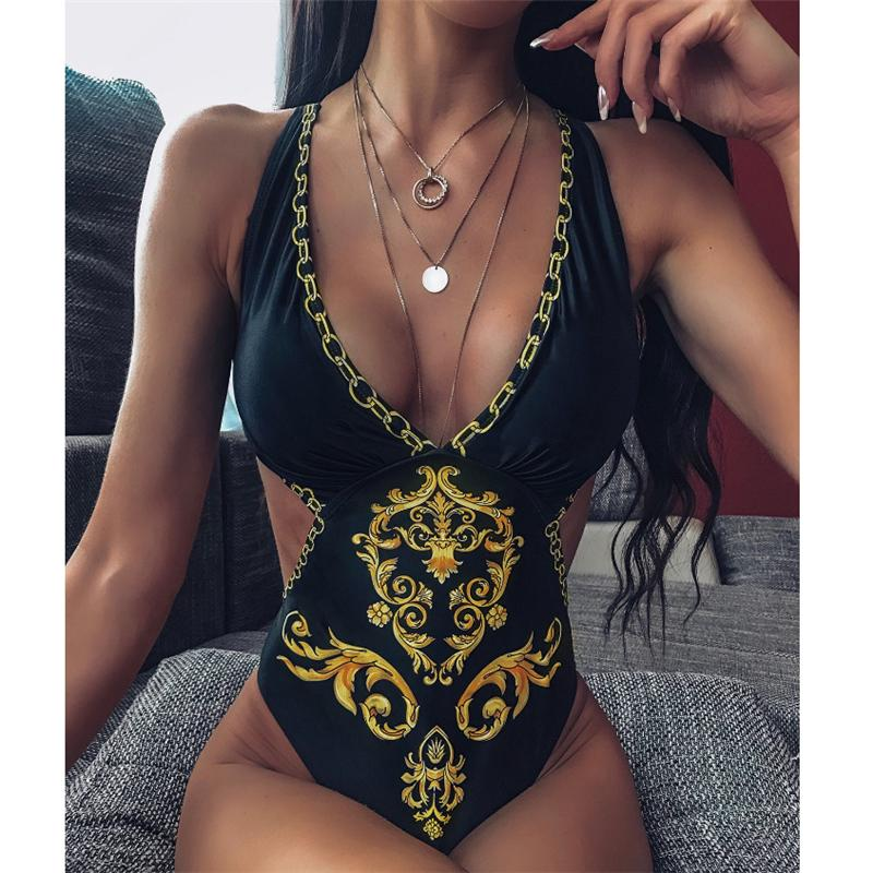 Yüksek Kalite Tek Parça Bikini Mayo Kadınlar 2020 Seksi V Yaka Baskı Mayolu Kadın Yaz Yeni Backless Mayo Brezilyalı biquini