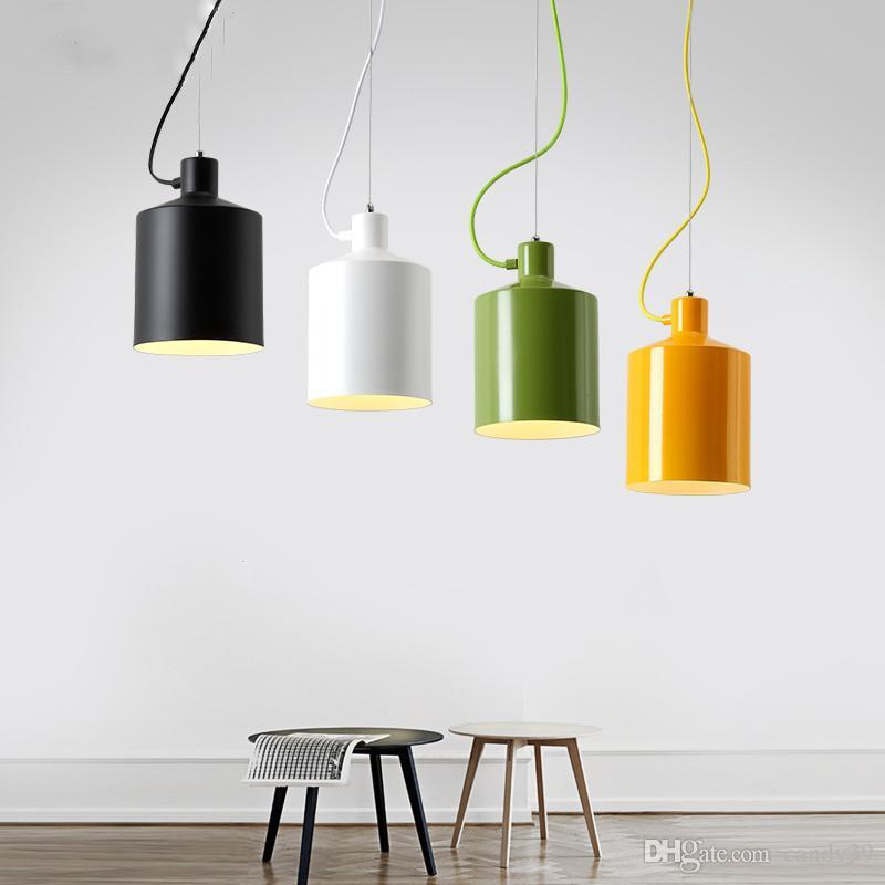 Modern E27 Green Yellow Pendant Light Colorful Aluminum Suspension Lamp Nordic restaurant bar cafe Store Home Lighting PA0292