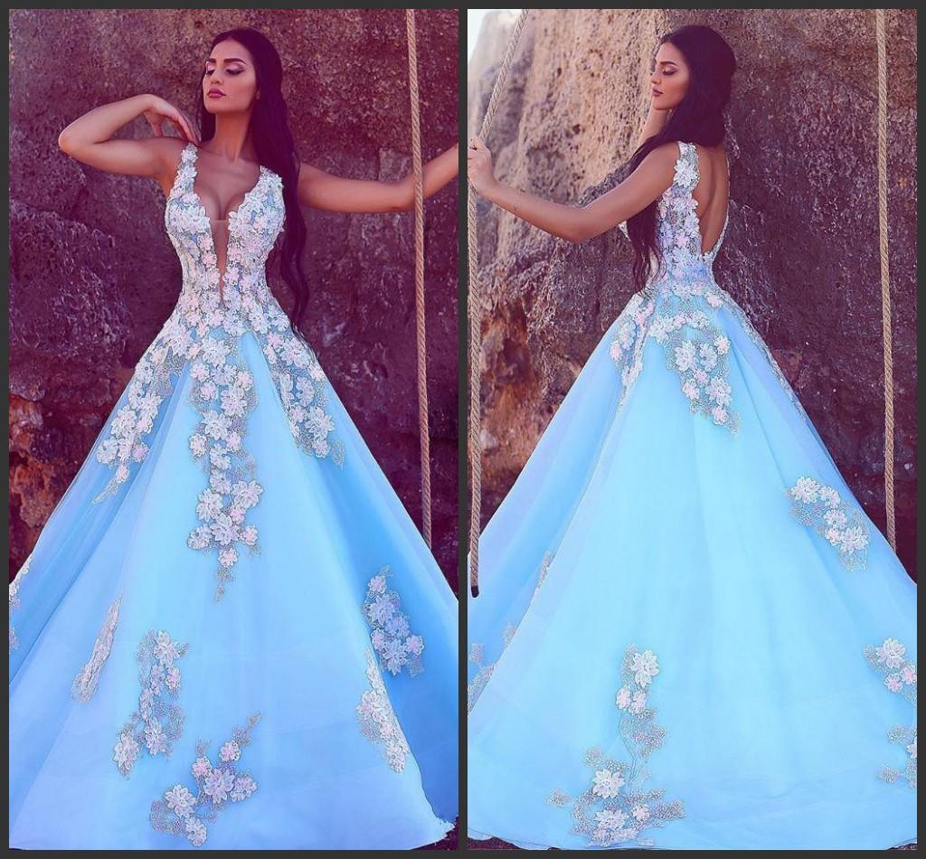 2019 nouveau ciel bleu sirène robes de soirée col en V sans manches robes de bal formelles robes dos nu Vintage Appliqued Occasion