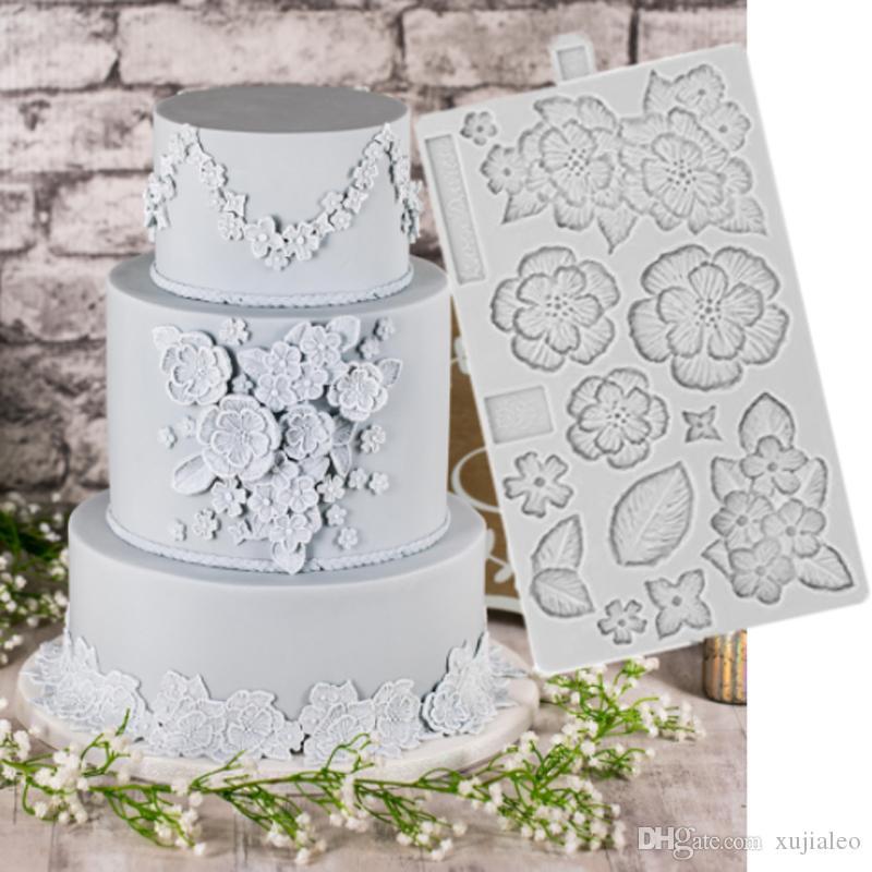 케이크 Gumpaste에 대한 식품 학년 브러쉬 자수 금형 퐁당 케이크 장식 도구 실리콘 형 Sugarcrafts 초콜릿 베이킹 도구