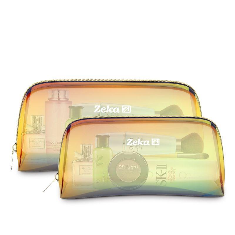 العلامة التجارية مصمم الهولوغرام الليزر التجميل حقيبة سفر المنظم المرأة حقيبة ماكياج شفاف الليزر المجسم التخزين المكياج حقيبة