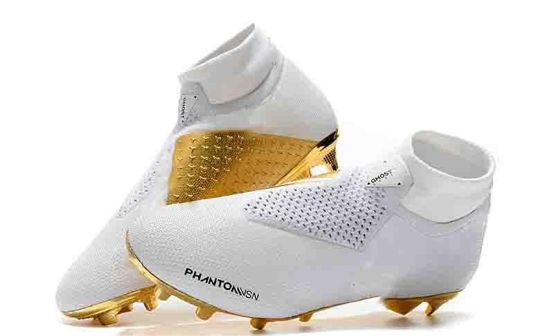 새로운 Arrivaled 화이트 골드 도매 축구 클리트 호나우두 CR7 원래 축구 신발 팬텀 VSN 엘리트 DF FG 축구 부츠