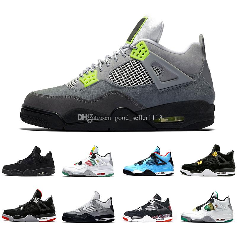 Nike air jordan retro Stock X Neon 4 Mens Basketball shoes Travis scott 4 cactus jack Metallic Pack Rasta Splatter Royalty Black Cat 4s Men Women Sports Designer Sneakers 5.5-13