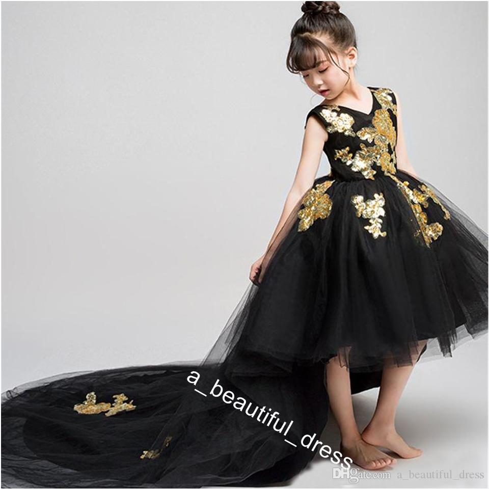 Gold Embellished Lace Black Hi Low Girls Pageant Dresses Tulle Jewel Neck Applique Ruched Cheap Flower Girls First Communion Dress FG1298