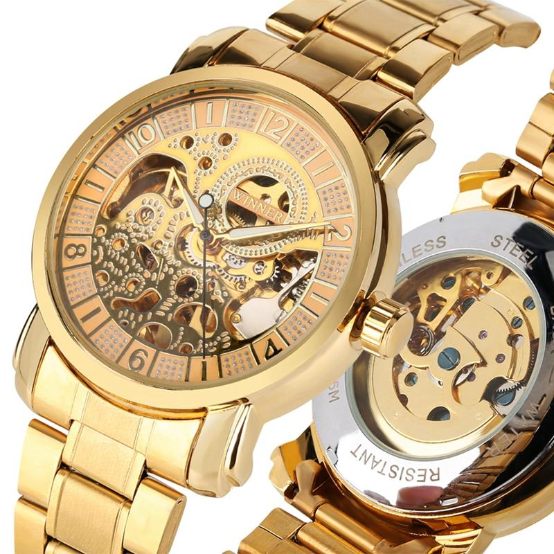Mens Watch  Automatic Mechanical Watches Men Gold Hollow Skeleton Stainless Steel Sports Wrist Watches Reloj Hombre
