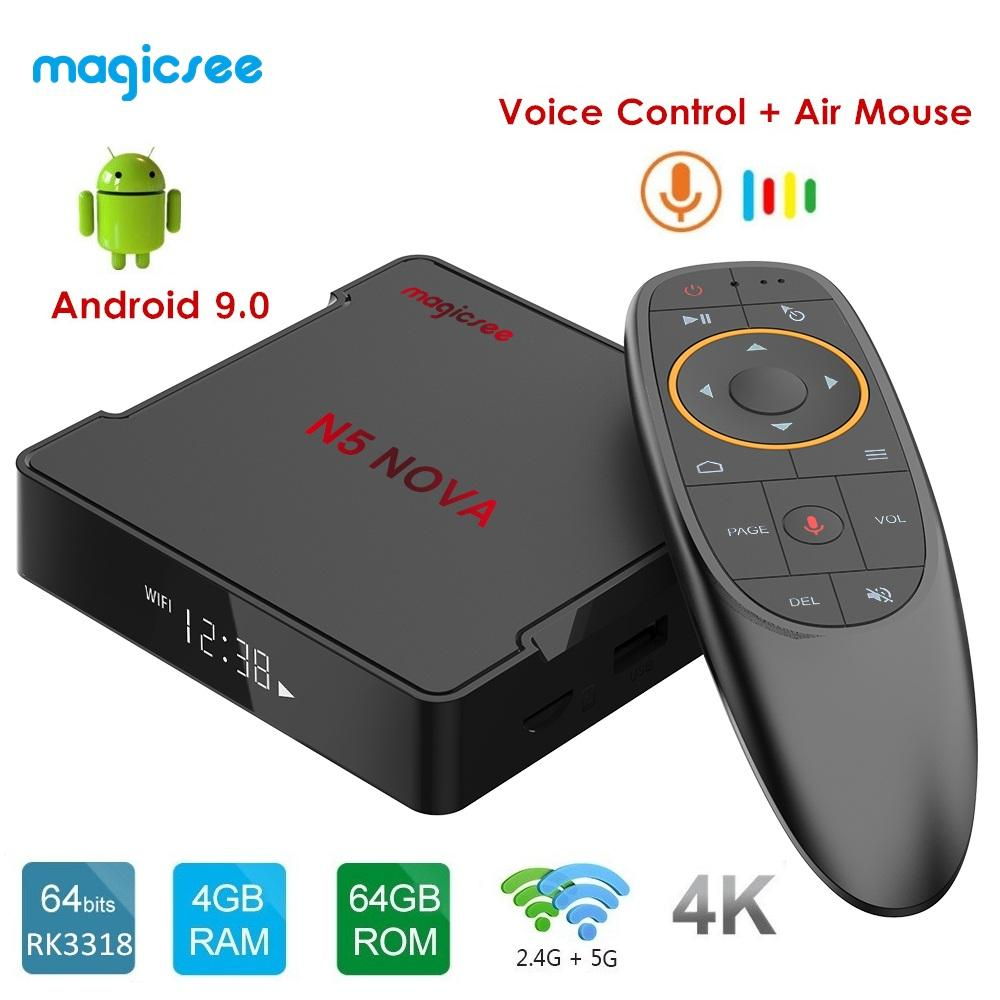 MAGICSEE N5 NOVA Android 9.0 TV BOX RK3318 4GB RAM 64GB ROM 2.4GHz+5GHz WiFi Voice Control Smart Set Top Box 4K Media Player