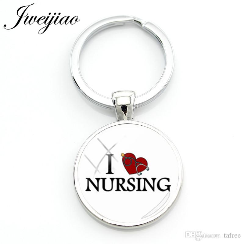 JWEIJIAO Fashion I Love Nursing Keychain Medical Stethoscope Key Chain Rings Holder RN Nurses Doctors' Bag Pendant Custom SE51