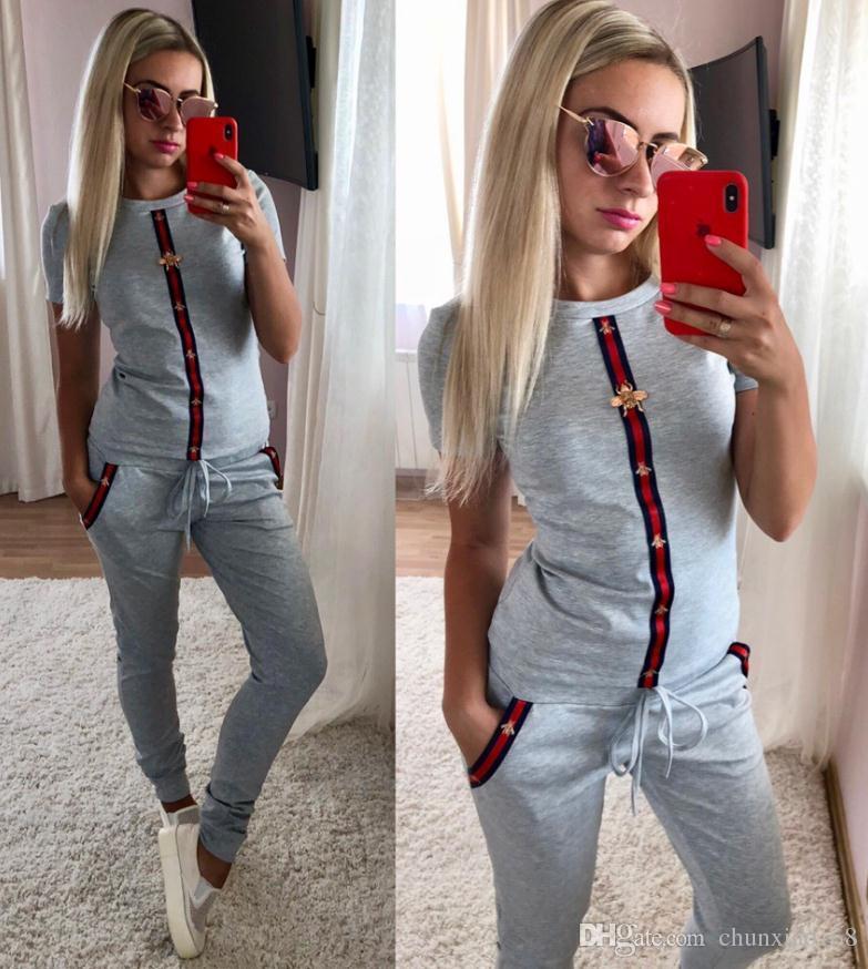 여름 패션 여성 인쇄 스포츠 정장 짧은 소매 셔츠와 바지 두 조각 세트 복장 슈트 크기 s ~ xl