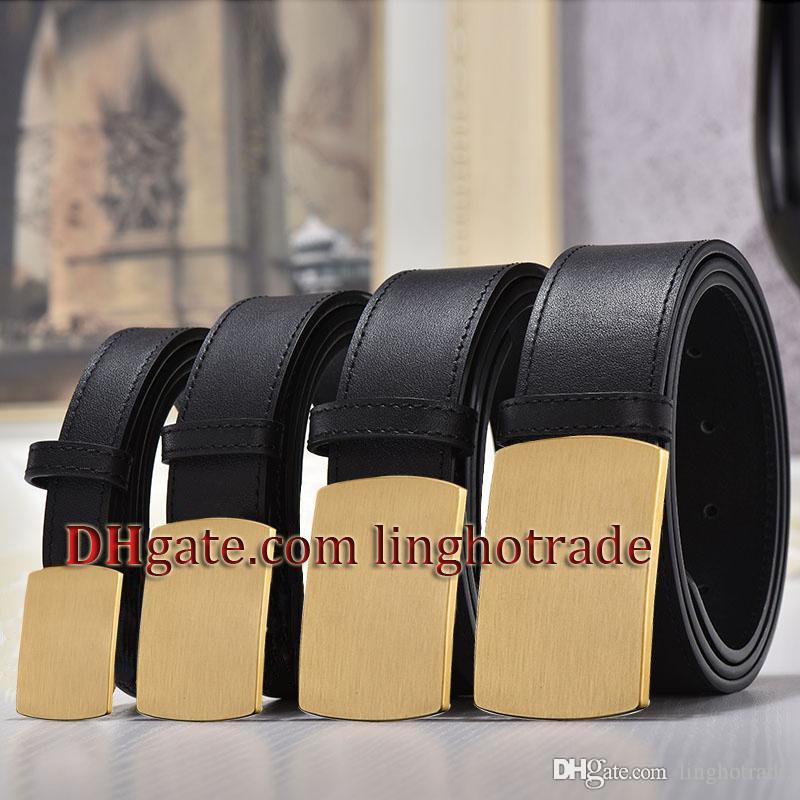 أزياء الرجال النساء أحزمة جلد البقر أحزمة حزام الكلاسيكي الأسود الصلبة على نحو سلس الذهب الكبير الإبزيم 2.0 / 3.0 / 3.4 / 3.8CM عرض ceinture مع مربع